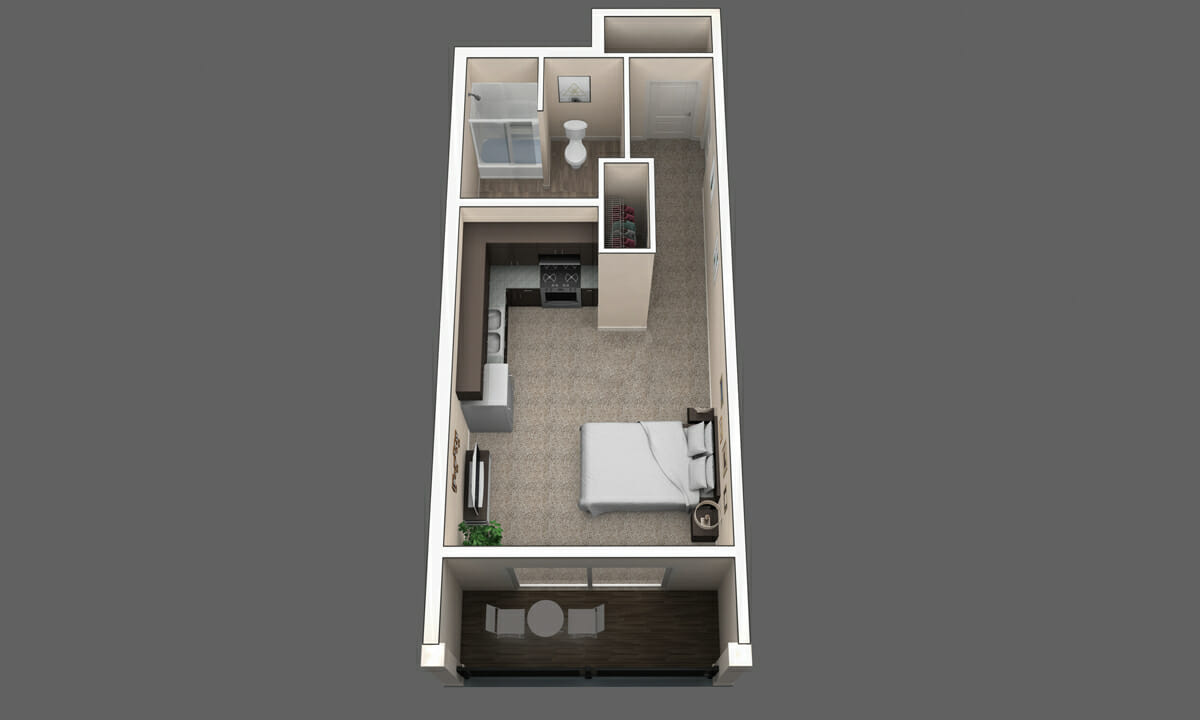 The 1BR Magnolia Floor Plan