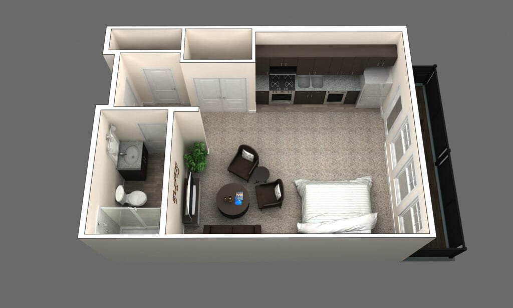 Sydney is a Studio apartment floor plan
