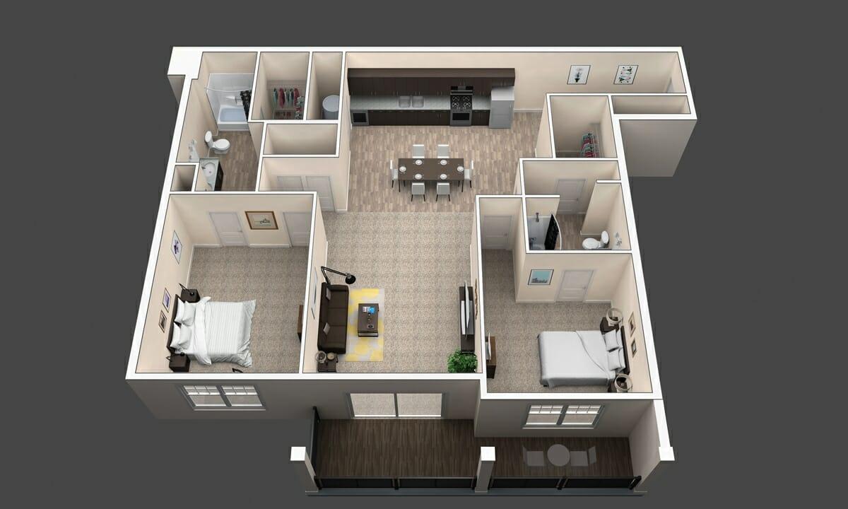 The Cypress is a 2 Bedroom Floor Plan