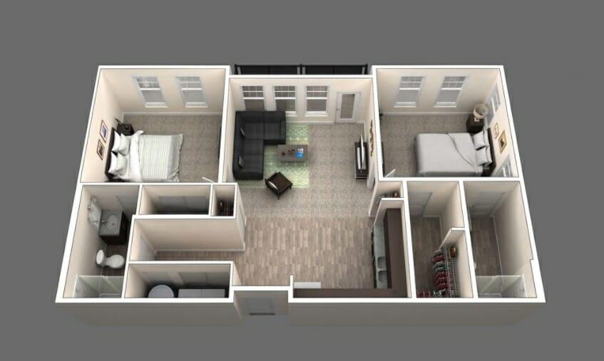 The Orleans is a 2 Bedroom Floor Plan
