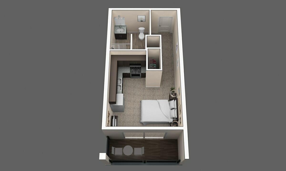 Studio apartment floorpan in Westerville