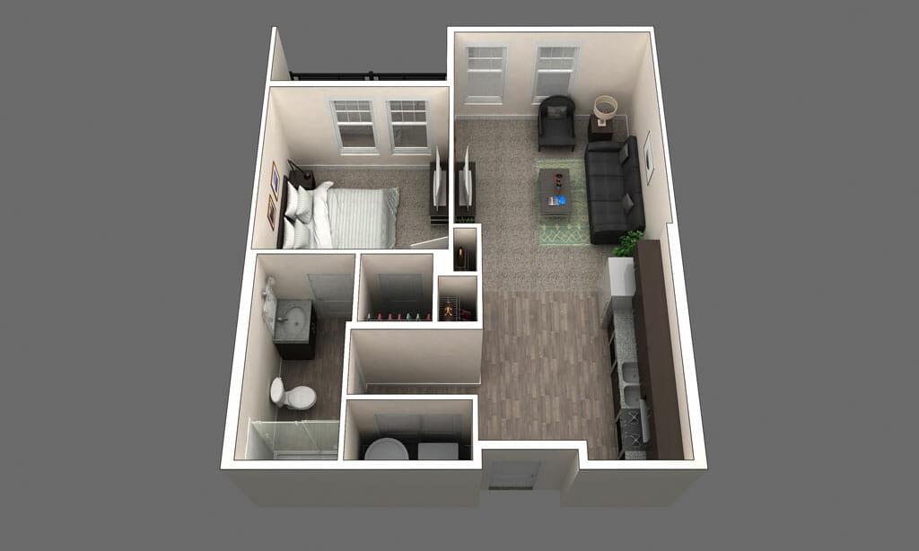1 bedroom apartment floorpan in Clintonville, OH